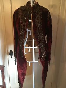 Ladie's antique period burgundy velvet cut away jacket with beading
