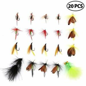 20Pcs Fly Fishing Lures Kit with Tackle Box Hooks Colorful Assortment for Trout