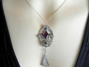 Vintage Antique Art Deco Jewelry Pewter Pendant Chain Necklace Paste Stone