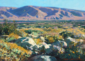 Colorado Desert below the San Gorgonio Pass, 6 x 8 inches, original oil on panel