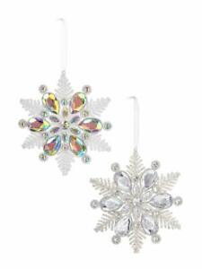 Ganz Frosted Crystal Snowflake Ornament, Choose Your Style (ACRYX-136)