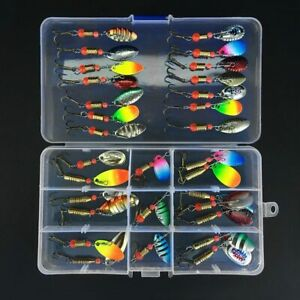 31pcs Colorful Trout Spoon Metal Fishing Lures Spinner Baits Bass Fishing Tackle