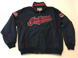 Majestic Authentic Collect. Cleveland Indians Chief Wahoo Coat Jacket Mens XXL