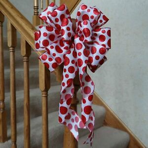 10quot; WIDE RED POLKA DOT BOW FOR CHRISTMAS OR VALENTINE#x27;S DAY DECOR CRAFTS GIFTS $6.50