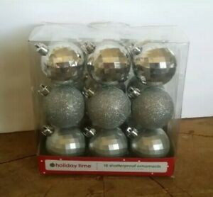 Holiday Time 18 Piece Shatterproof CHRISTMAS TREE ORNAMENTS Silver Disco  Balls