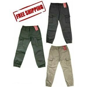 Unionbay Boys Youth Jogger Cargo Pull On Cotton Pants Beige Gray Green XS S M L $14.97