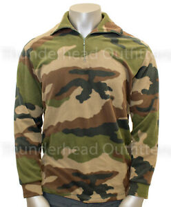 NEW French Military FLEECE PULLOVER 1 4 Zip Jacket CCE Woodland Camo 112 L $26.49