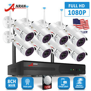 1080P Security Camera System Wireless Outdoor HD 8CH NVR Kit 2TB Hard Drive Home