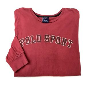 Vintage Polo Sport Ralph Lauren T Shirt Size Large Long Sleeve Red