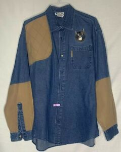 Columbia Hunting Sportswear Mens L Denim amp; Beige Shooting Shirt LS Embroidered