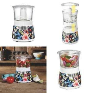 The Pioneer Woman Fiona Floral Stack  Press Glass Bowl Food Chopper, 3 Cup Capa