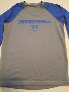 Boys Under Armour Greyblue Heatgear Baseball 34 Sleeve Shirt Youth Small