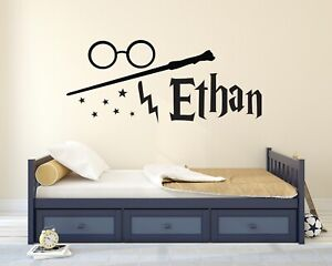 Custom Harry Potter Name Wall Decal Potter Personalized Name Wand Vinyl Sticker