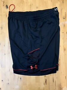 "MEN UNDER ARMOUR 2XL LOOSE 9"" Inseam Black Shorts Pockets BASKETBALL"