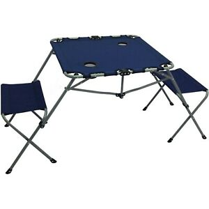 2-In-1 Table Set Bench Seating Camping Lawn Tailgate Chairs Sports BBQ Outdoor