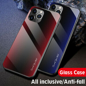Case For iPhone 12 11 Pro Max Xs Xr 7 8 Luxury Tempered Glass Hard Phone Cover