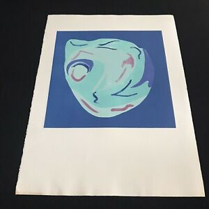 Large Blue Test Print II Original SIGNED Policoff Abstract Painting Minimal Art
