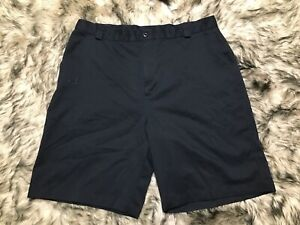 Under Armour Men Solid Black Golf Shorts Size 38 flat front embroidered logo