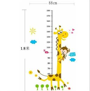 Removable Height Chart Measure Wall Sticker Decal for Kids Baby Room Giraffe RF