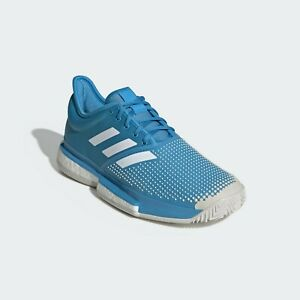 adidas Sole Court Boost Clay Tennis Shoes Size 8 10.5 11 Shock Cyan White DB2690