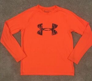 Boys Under Armour Size Youth Large Loose Fit Heatgear Long Sleeve Shirt EUC