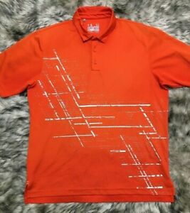 Orange Silver Under Armour Coldblack Loose Heat Gear Golf Polo Shirt Large L