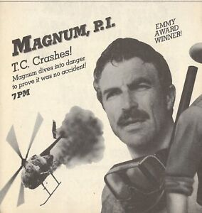1984 TV AD~MAGNUM P.I. DETECTIVE SERIES~TOM SELLECK~MAGNUM DRIVES INTO DANGER