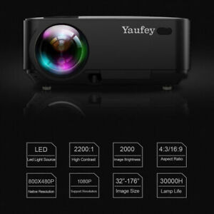 Yaufey  LED Video Projector Multimedia Projector Home Smart Theater 2200 Lumens