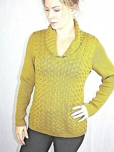 Coldwater Creek Womens 10-12 Olive Green Cable Knit Cowl Neck Sweater nice EUC