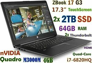 # 3D-Design HP ZBook 17 G3 TouchScreen FHD i7-6820HQ 4TB 2x2TB SSD 64GB M3000M