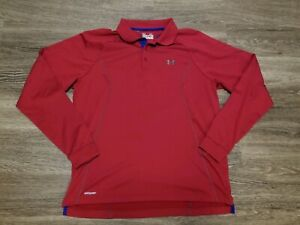 Under Armour Cold Gear Red long sleeve polo with blue trim - mens XL regular