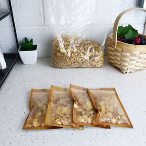Gold Windowed Snack And Dry Food Portable Storage Bag With Hang Hole