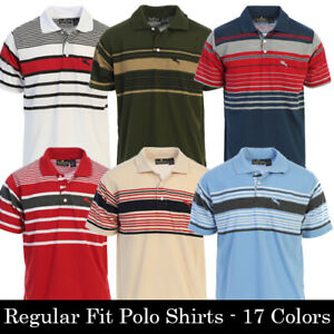 Platoon Mens Regular Fit Striped Short Sleeve Polo Shirt with Pocket 17 Colors $14.99
