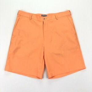 NEW Peter Millar Crown Sport Wicking Flat Front Shorts Bright Orange • Size 34
