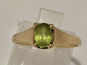 VINTAGE SIZE 5 1 4 PERIDOT 10K YELLOW GOLD RING SIGNED CM HALLMARKED 10K