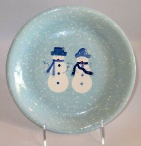 Target Home Holiday WINTER FROST Snow Couple Blue Salad Sandwich Plate - EUC