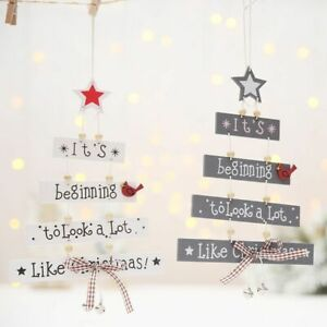 Decoration Wooden Christmas Pendant Tree Hanging Home Door Ornament For Supply