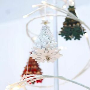 Rotating Tree Christmas Ornament Hanging Pendant Wooden Bell Decoration For Home