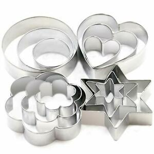 12 pcs Cookie cutters Heart, Flower, Round and Star, Stainless Steel