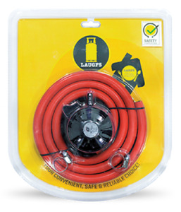 Genuine Safety Gas Regulator & 1 M Hose, 2 clip Kit For Gas Cooker BBQ, Patio