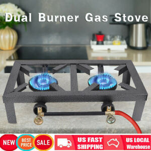 Dual Portable Burner Cast Iron Propane LPG Gas Stove Outdoor Camping Cooker USA