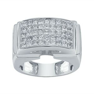2.50 Ct Mens 10K White Gold Real Diamond Engagement Square Designer Pinky Ring