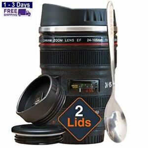 Camera Lens Coffee Mug -13.5oz Stainless Steel Thermos Travel Coffee Cup