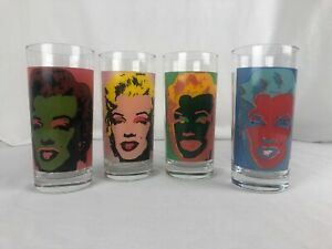 1997 Andy Warhol Signed Marilyn Monroe Block Art Set of 4 Highball 6