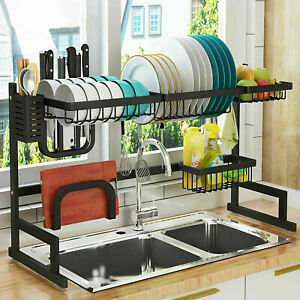 Dish Rack 2-Tier Stainless Steel Kitchen Dry Shelf Cutlery Holder Over Sink Rack
