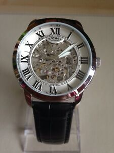 Rotary Mens Black Leather Strap Skeleton Watch. GS03095/21.