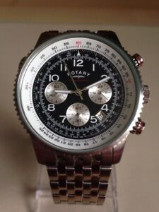Rotary Mens Stainless Steel Pilot Style Chronograph Watch. GB03351/19.