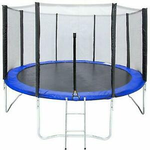 12' Round Trampoline Combo Bounce Jump Safety Enclosure Net Ladde Outdoor Garden