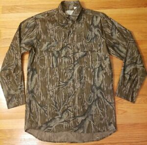 VTG MOSSY OAK COTTON CAMO TREE STAND MEN'S BUTTON UP SZ M MADE IN USA