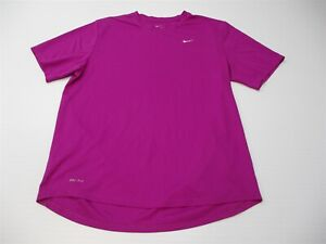 NIKE Men's Size M DRI FIT Training Mesh Purple Running Crew Neck T-Shirt